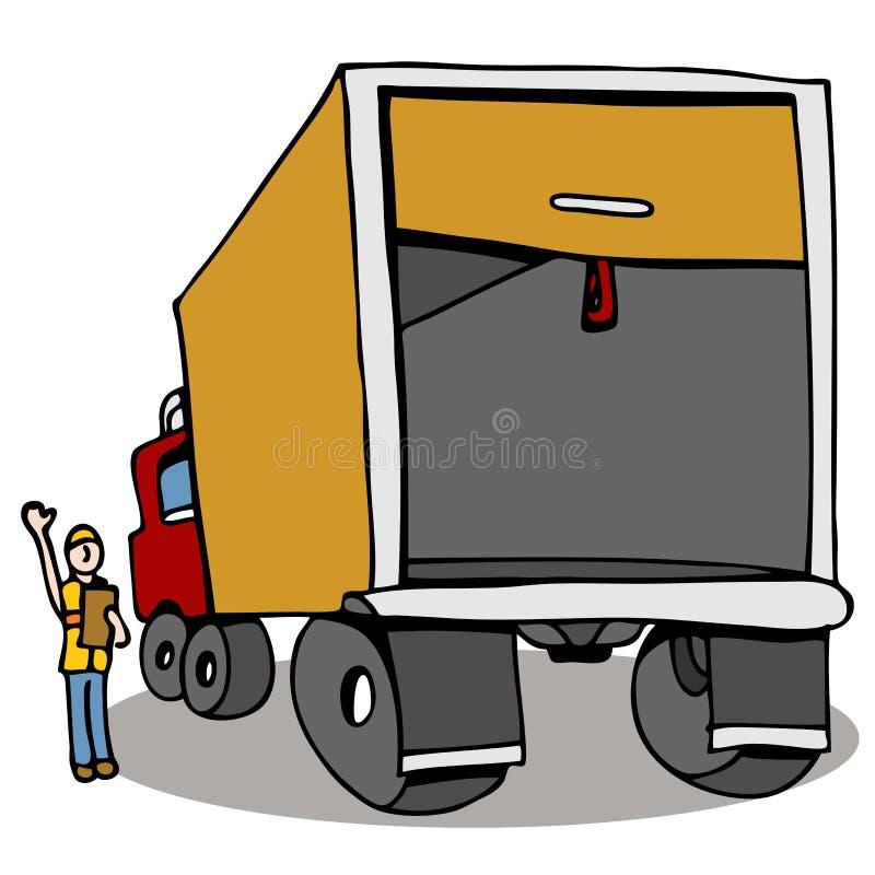 Controllo di sicurezza del camion illustrazione di stock