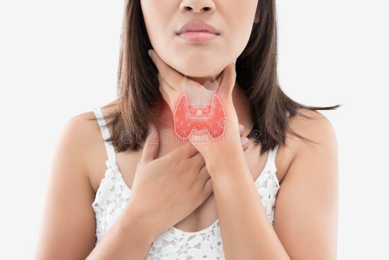 Controllo ghiandola tiroide delle donne immagini stock