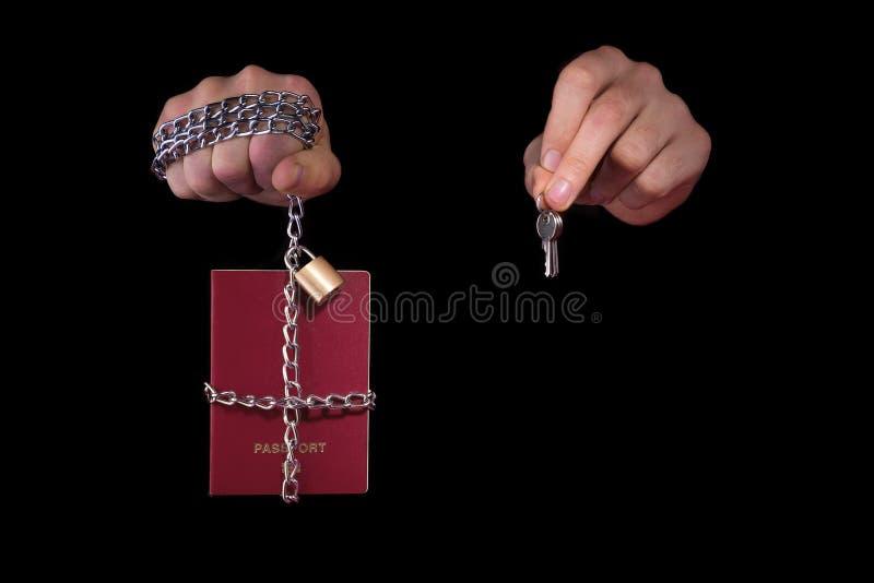 Controllo sopra umanità Passaporto legato con una catena, su un fondo nero fotografie stock