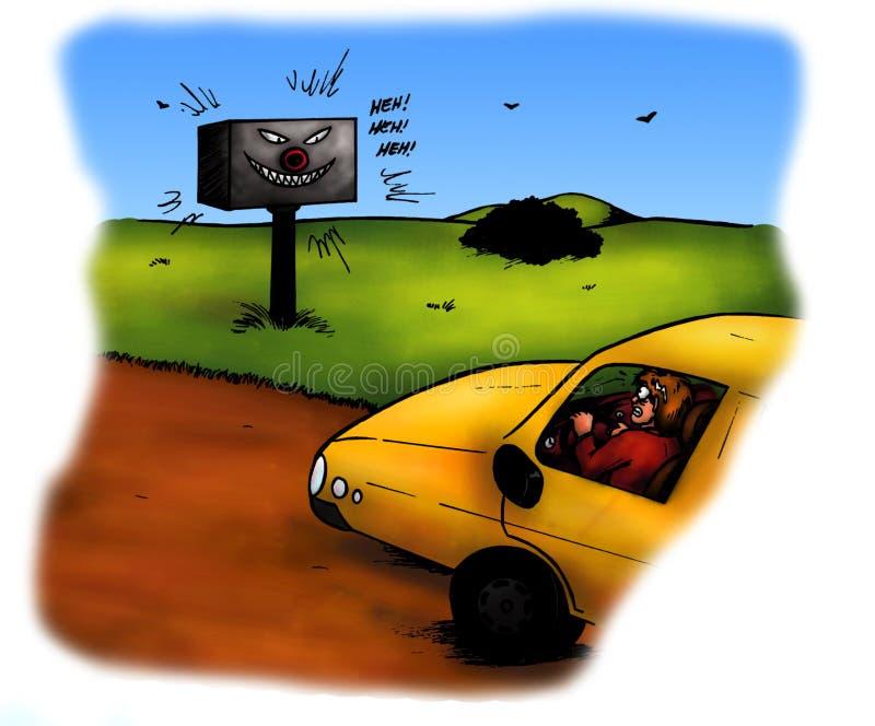 Controllo spaventoso di velocità del radar (2008) illustrazione di stock