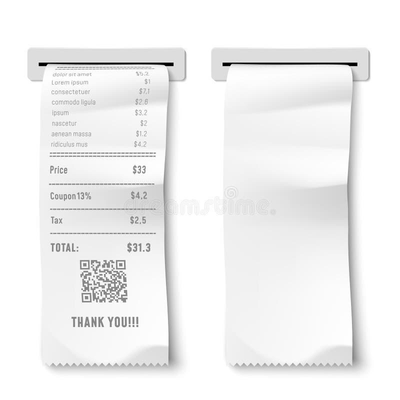 Controllo stampato realistico La ricevuta di transazione, la fattura di pagamento ed i controlli finanziari hanno isolato l'illus illustrazione di stock