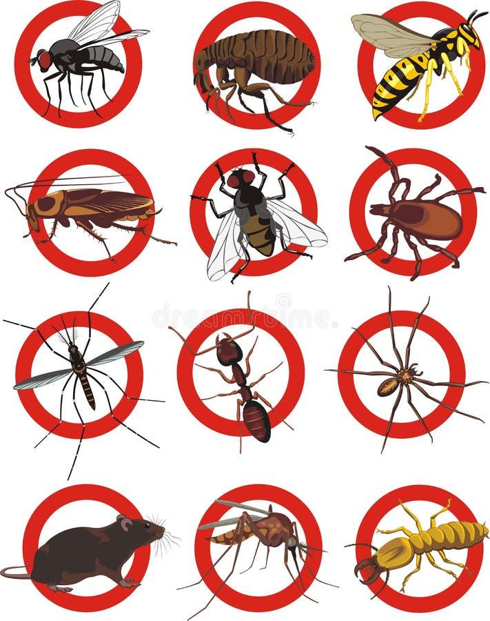 Controlo de pragas - sinal de aviso ilustração royalty free