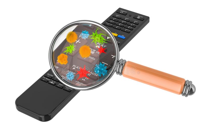 Controlo a distância da tevê com germes e bacterias sob a lupa rendi??o 3d ilustração royalty free