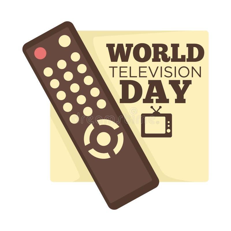 Controlo a distância do dia da televisão do mundo e emblema isolado aparelho de televisão ilustração royalty free
