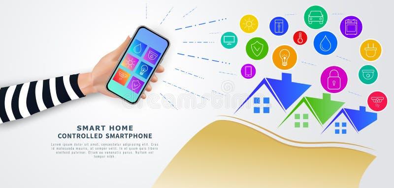 Controlo a distância esperto da casa com telefone celular Smartphone da terra arrendada da mão com o app móvel com ícones na tela ilustração stock