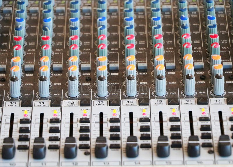 Controls of audio mixing console stock photos