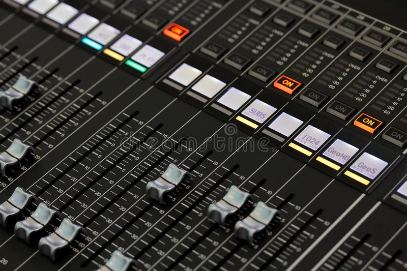 Controls of a digital sound mixing console royalty free stock photos