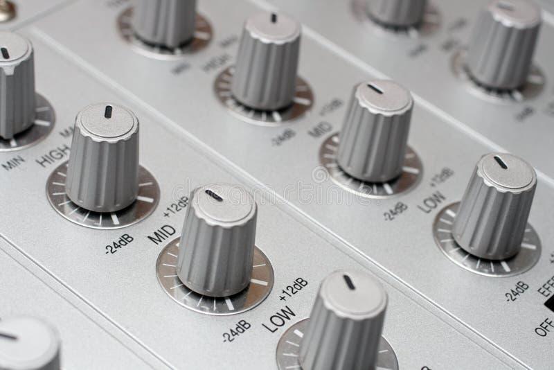 Controls of dj music mixer royalty free stock images