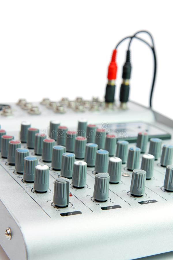 Controls Of Small Sound Mixer Console Stock Image