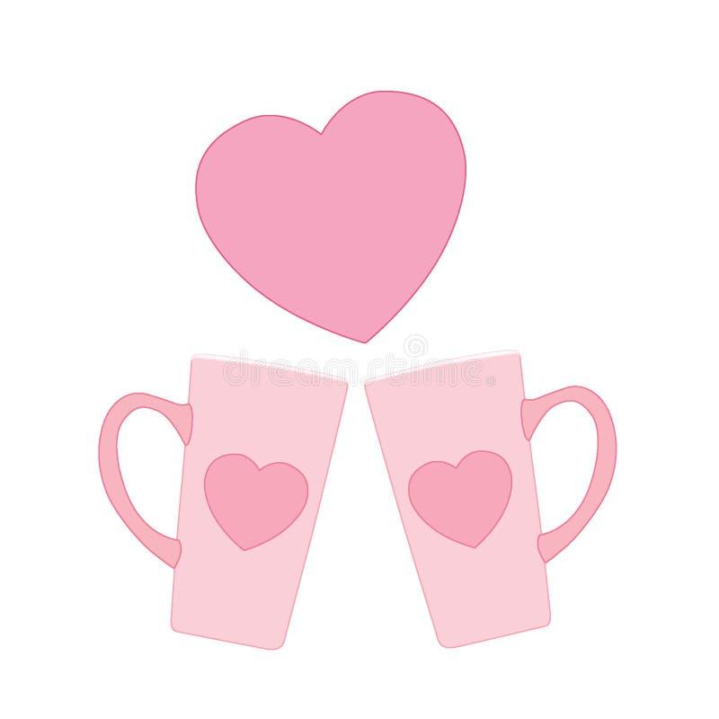 Controparti ed amore di rosa della tazza del cuore illustrazione di stock