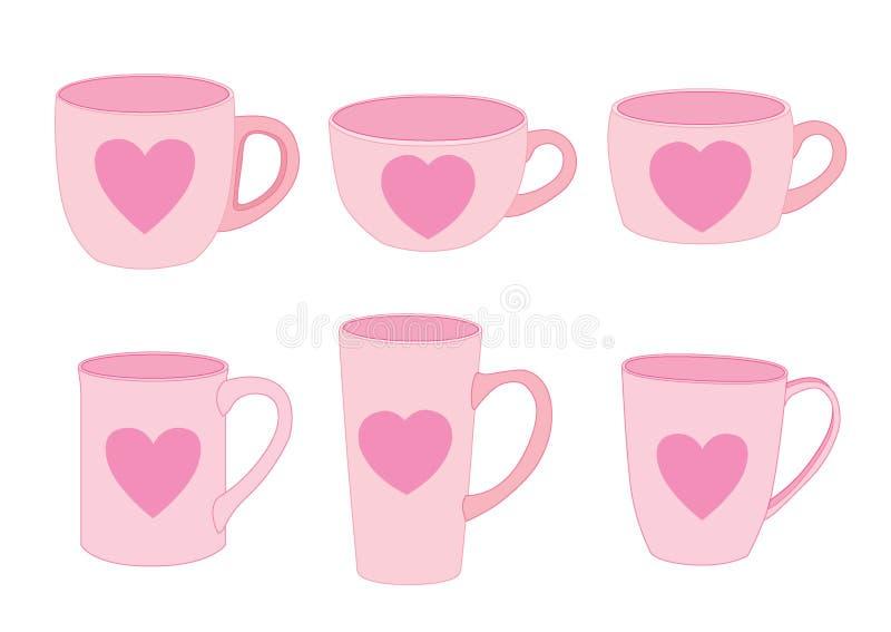 Controparti ed amore di rosa della tazza del cuore royalty illustrazione gratis
