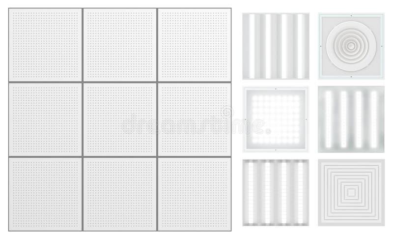 Controsoffitto con nastro adesivo perforato Metta per un soffitto modulare illustrazione vettoriale