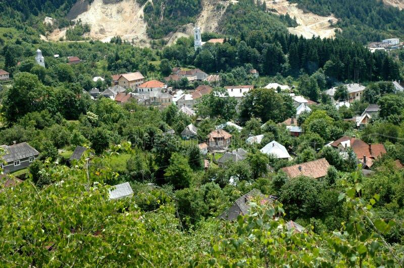 Controversiële goudmijnuitgraving, Rosia Montana, Roemenië stock foto