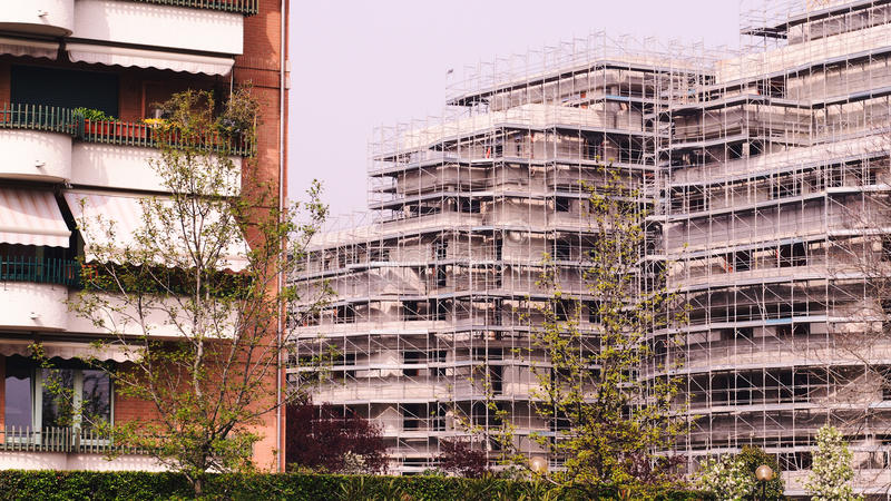 Contruction buildings at Lainate city. royalty free stock image