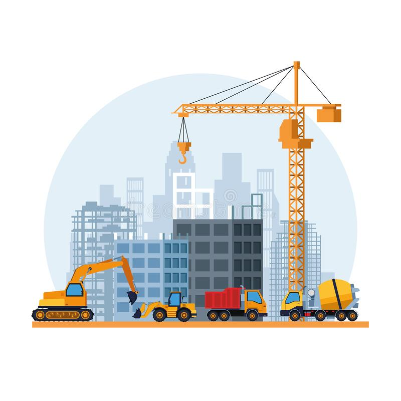 Contruction site cartoon. Contruction site landscape with trucks cartoon vector illustration graphic design stock illustration