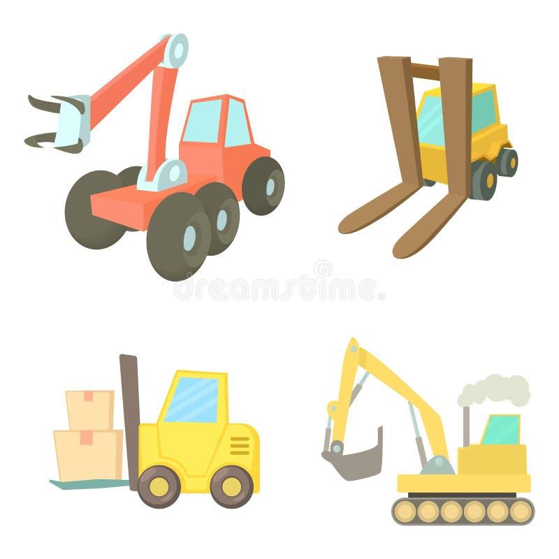 Contruction vehicle icon set, cartoon style. Contruction vehicle icon set. Cartoon set of contruction vehicle vector icons for web design isolated on white stock illustration