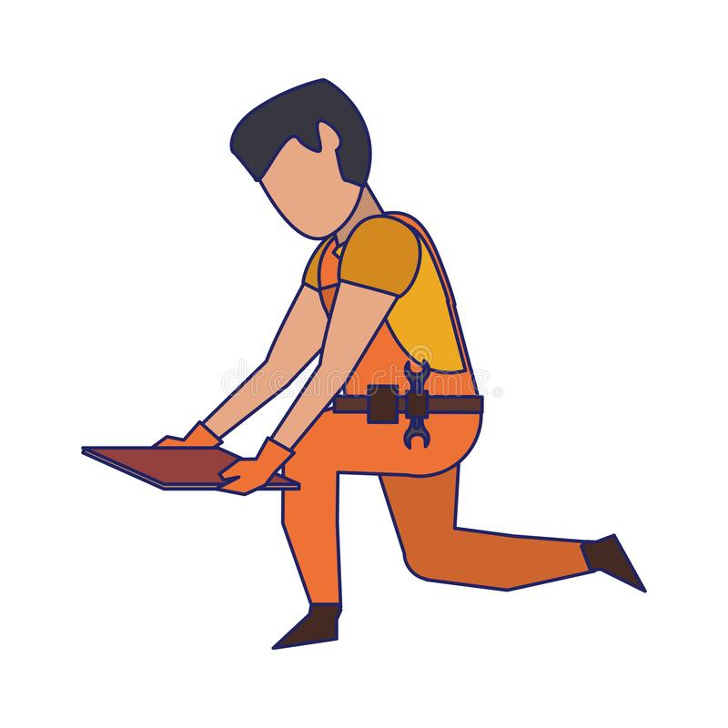 Contruction worker with tools avatar faceless blue lines. Contruction worker with floor tile vector illustration graphic design stock illustration