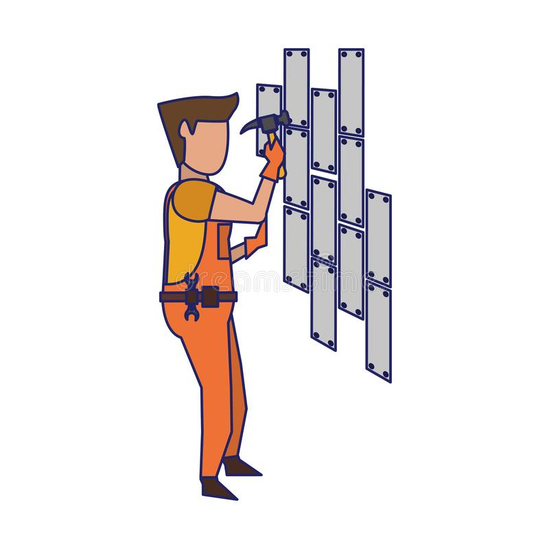 Contruction worker with tools avatar faceless blue lines. Contruction worker with hammer fixing wall vector illustration graphic design stock illustration