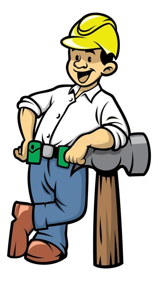 Contruction worker lean on a big hammer. Vector of contruction worker lean on a big hammer vector illustration