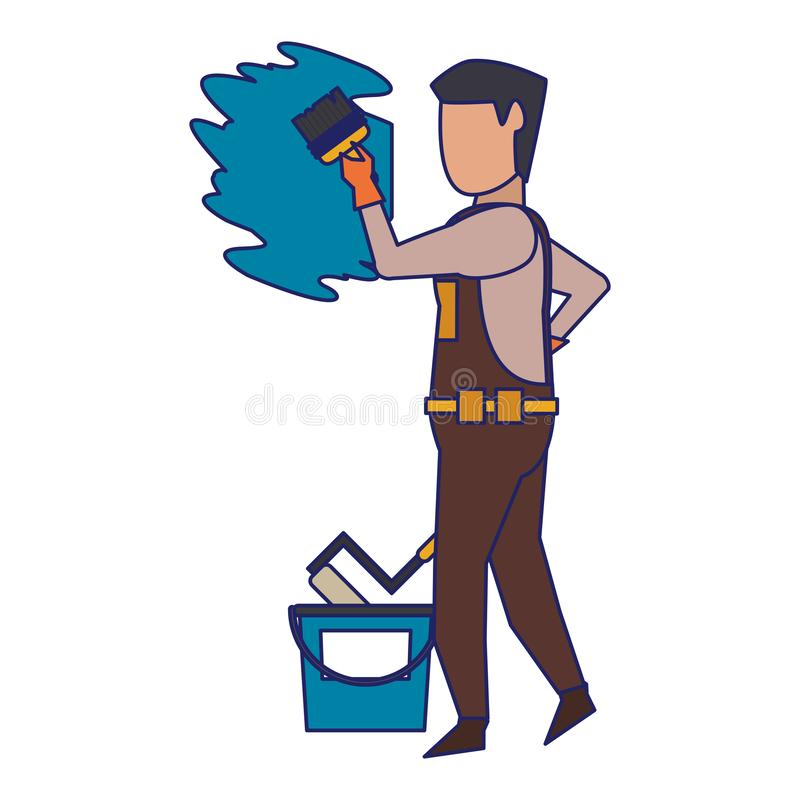 Contruction worker with tools avatar faceless blue lines. Contruction worker painting wall with brush and can vector illustration graphic design royalty free illustration