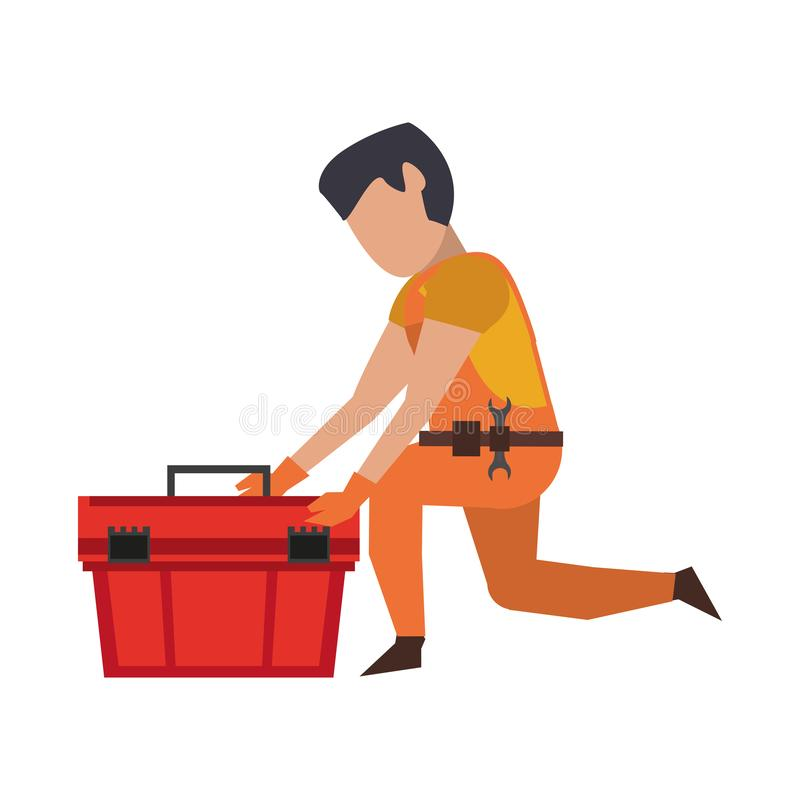 Contruction worker with tools avatar faceless. Contruction worker searching tools in toolbox vector illustration graphic design vector illustration