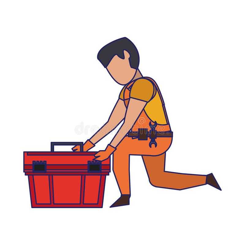 Contruction worker with tools avatar faceless blue lines. Contruction worker searching tools in toolbox vector illustration graphic design royalty free illustration