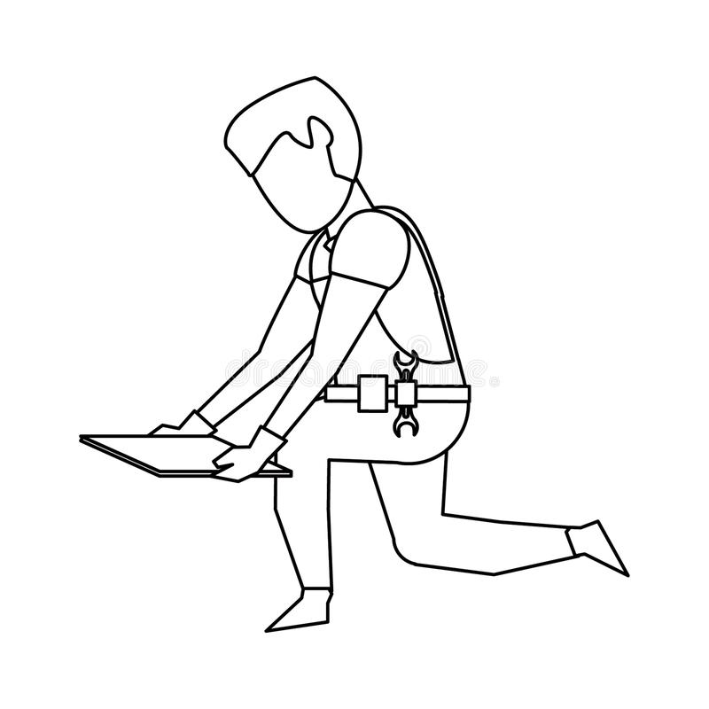Contruction worker with tools avatar faceless in black and white. Contruction worker with floor tile vector illustration graphic design royalty free illustration