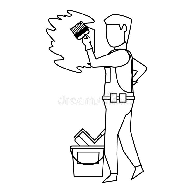 Contruction worker with tools avatar faceless in black and white. Contruction worker painting wall with brush and can vector illustration graphic design stock illustration