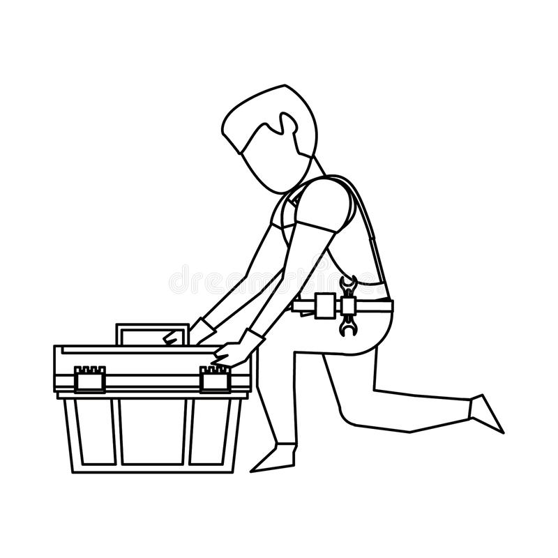 Contruction worker with tools avatar faceless in black and white. Contruction worker searching tools in toolbox vector illustration graphic design stock illustration