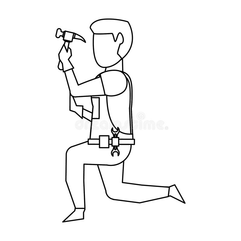 Contruction worker with tools avatar faceless in black and white. Contruction worker using hammer on knees vector illustration graphic design stock illustration