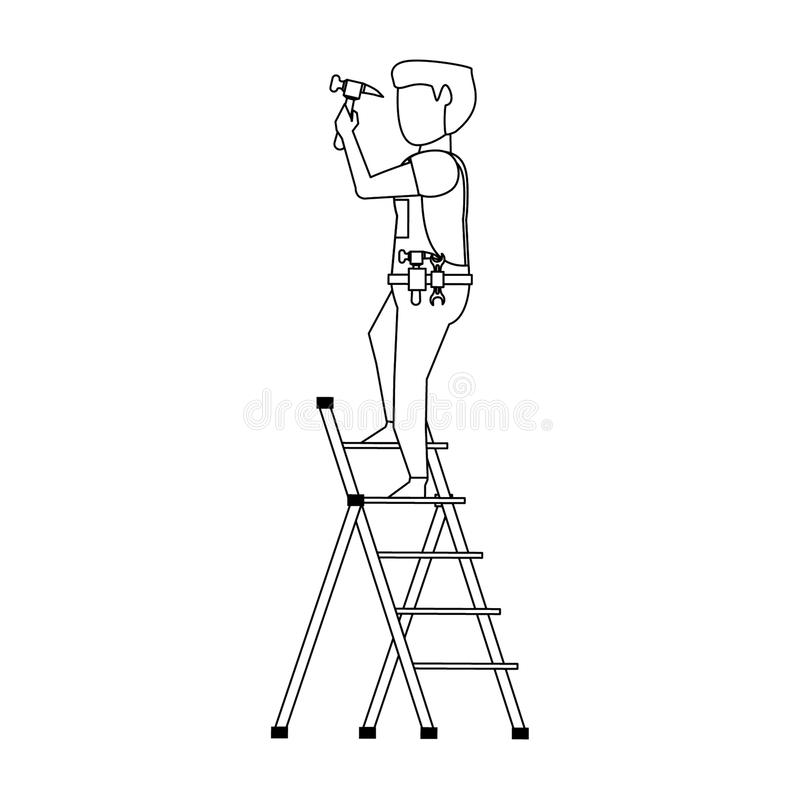 Contruction worker with tools avatar faceless in black and white. Contruction worker using hammer on ladle vector illustration graphic design vector illustration