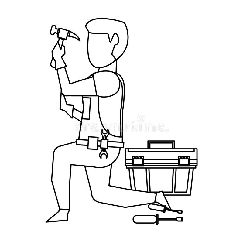 Contruction worker with tools avatar faceless in black and white. Contruction worker using hammer and toolbox vector illustration graphic design stock illustration