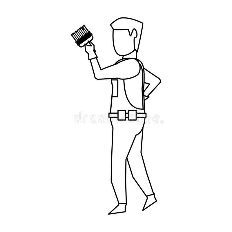 Contruction worker with tools avatar faceless in black and white. Contruction worker using paint brush isolated vector illustration graphic design royalty free illustration