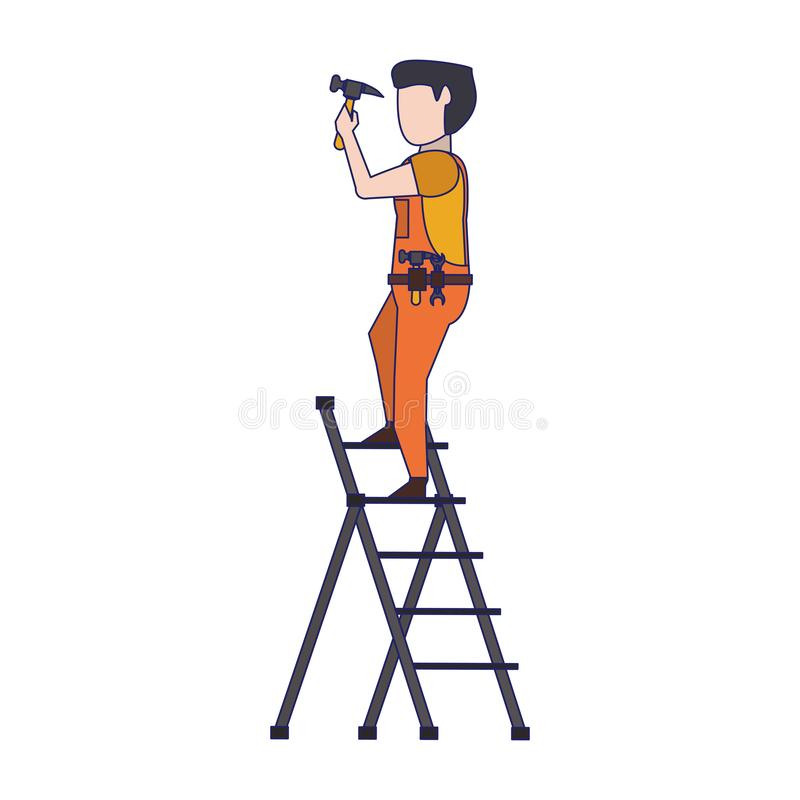 Contruction worker with tools avatar faceless blue lines. Contruction worker using hammer on ladle vector illustration graphic design stock illustration