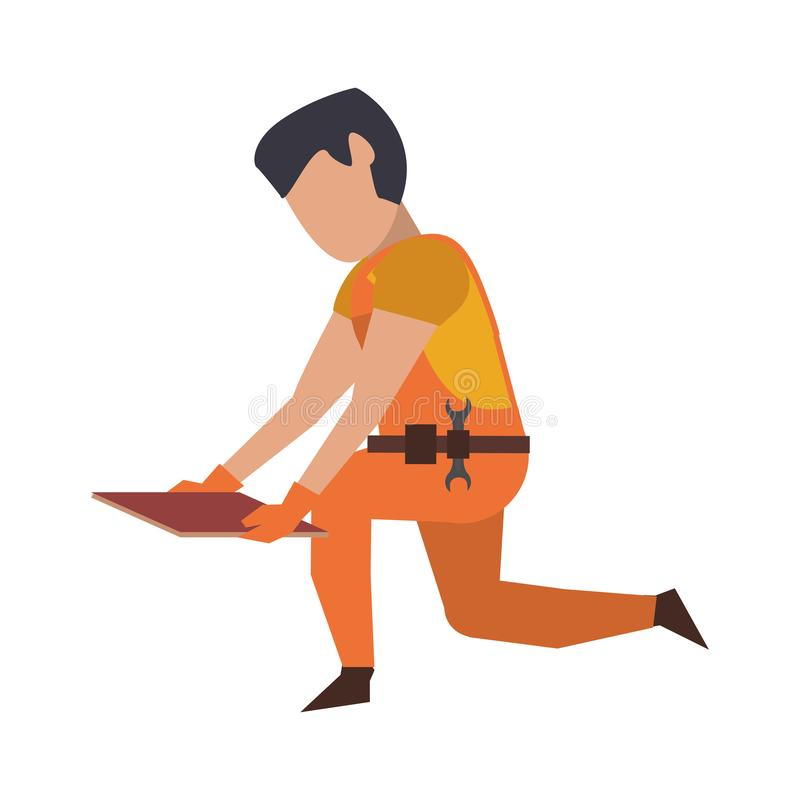 Contruction worker with tools avatar faceless. Contruction worker with floor tile vector illustration graphic design royalty free illustration