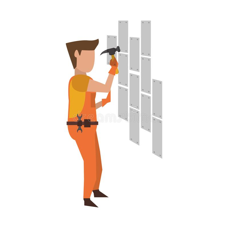 Contruction worker with tools avatar faceless. Contruction worker with hammer fixing wall vector illustration graphic design royalty free illustration