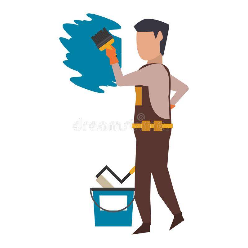 Contruction worker with tools avatar faceless. Contruction worker painting wall with brush and can vector illustration graphic design royalty free illustration