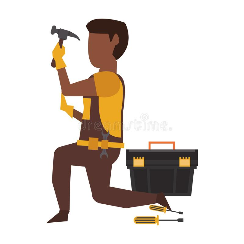 Contruction worker with tools avatar faceless. Contruction worker using hammer and toolbox vector illustration graphic design stock illustration