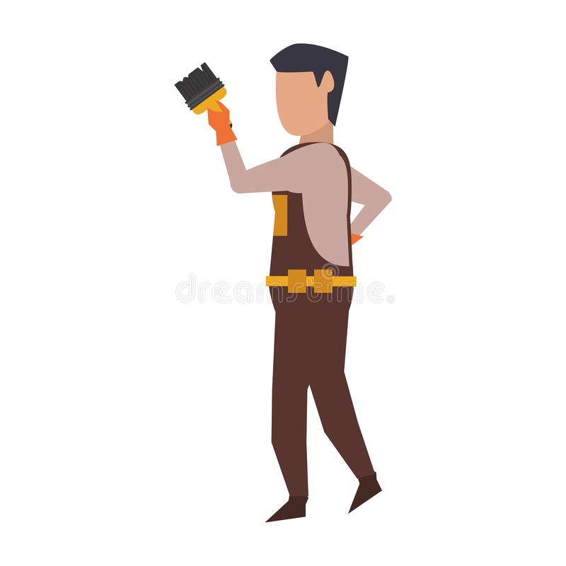 Contruction worker with tools avatar faceless. Contruction worker using paint brush isolated vector illustration graphic design royalty free illustration