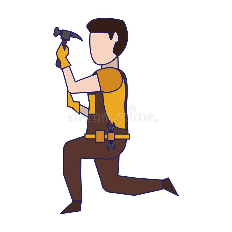 Contruction worker with tools avatar faceless blue lines. Contruction worker using hammer on knees vector illustration graphic design royalty free illustration