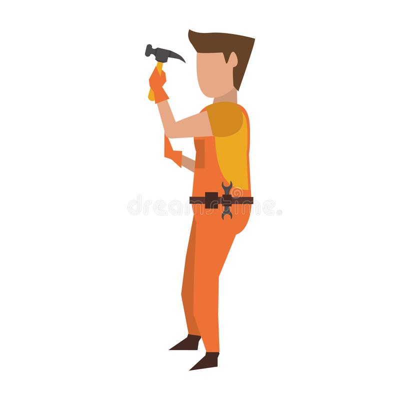 Contruction worker with tools avatar faceless. Contruction worker using hammer tool vector illustration graphic design royalty free illustration