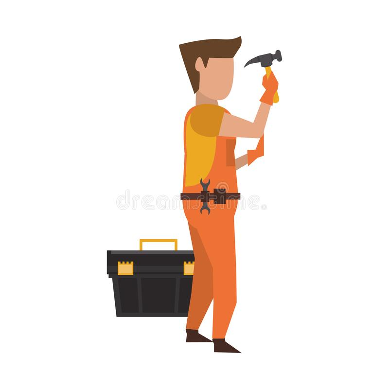 Contruction worker with tools avatar faceless. Contruction worker using hammer and toolbox vector illustration graphic design royalty free illustration