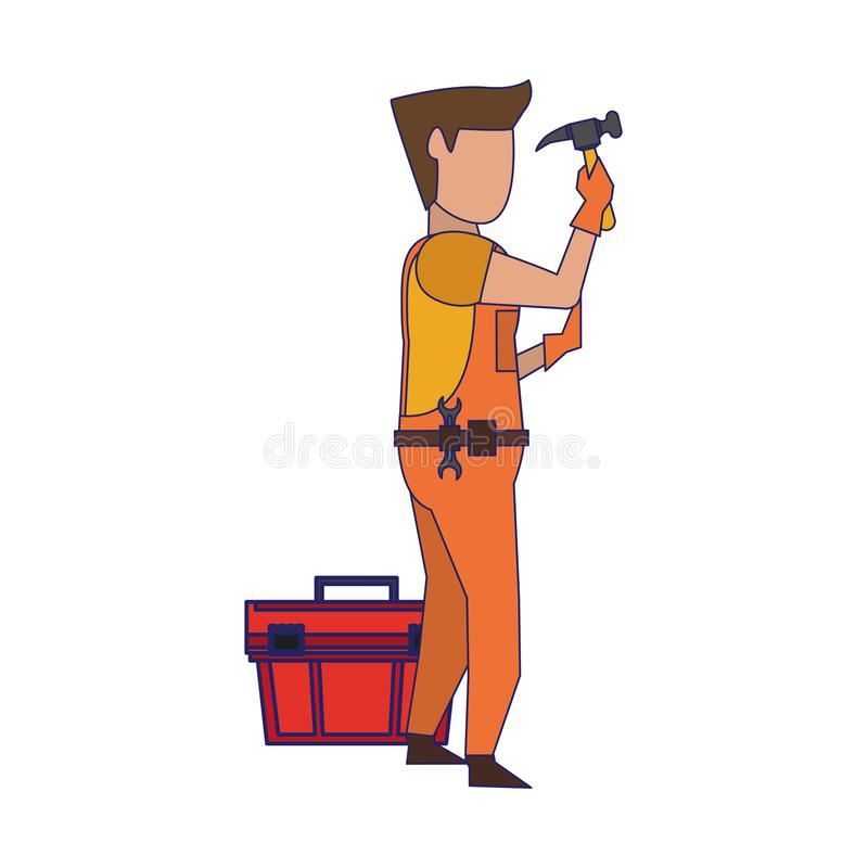 Contruction worker with tools avatar faceless blue lines. Contruction worker using hammer and toolbox vector illustration graphic design vector illustration
