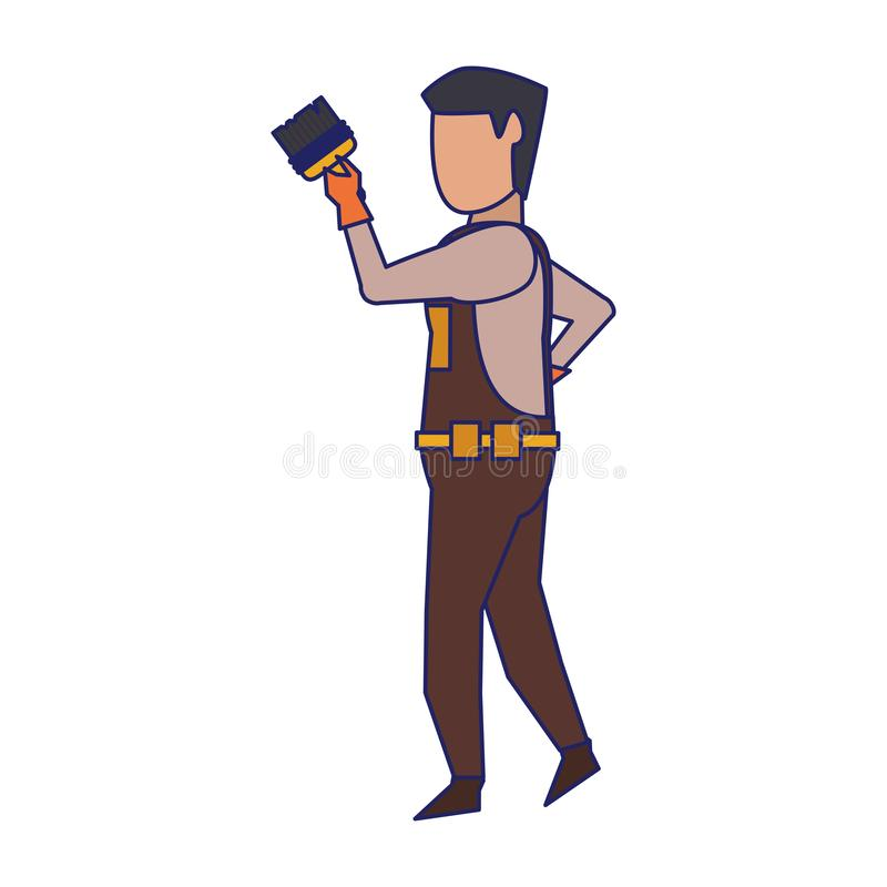 Contruction worker with tools avatar faceless blue lines. Contruction worker using paint brush isolated vector illustration graphic design stock illustration