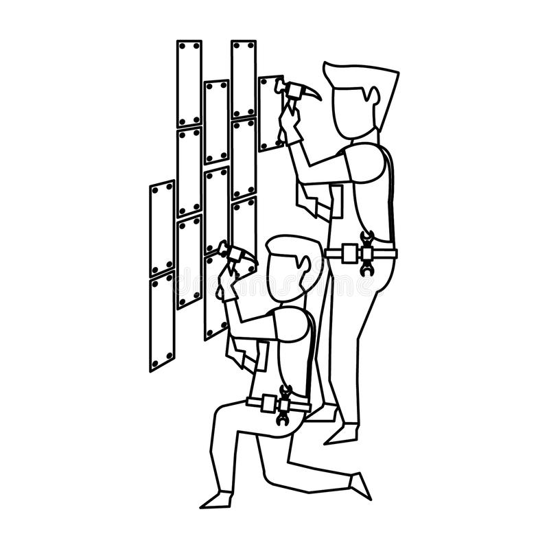 Contruction workers with tools avatar faceless in black and white. Contruction workers with hammer fixing wall vector illustration graphic design vector illustration