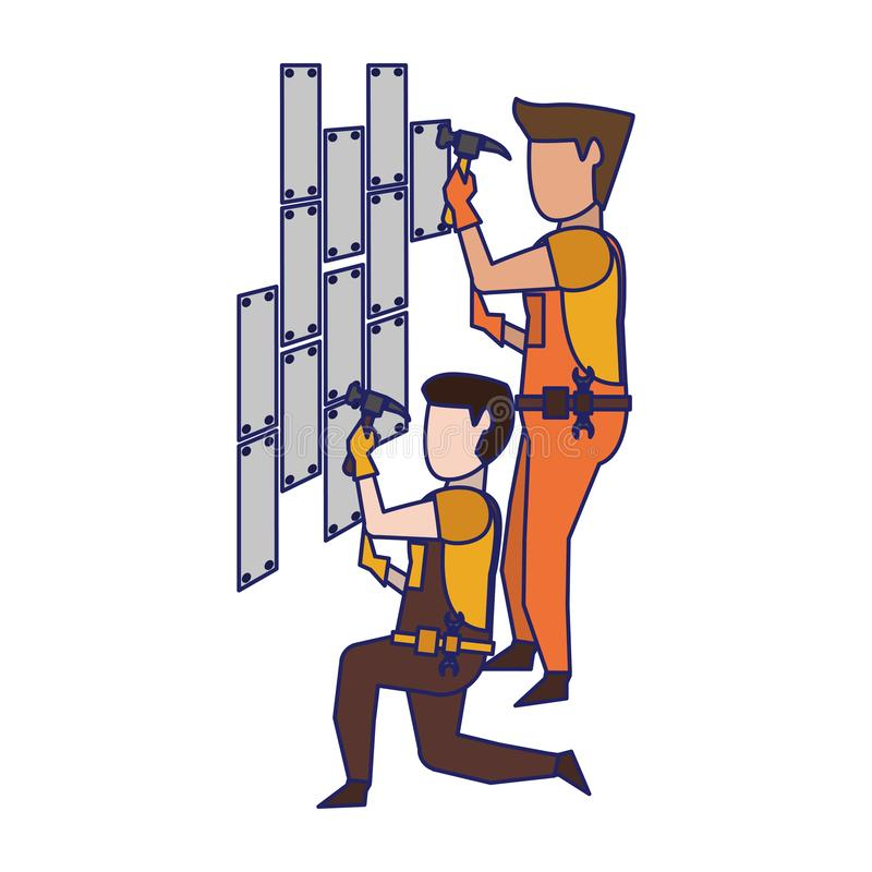 Contruction workers with tools avatar faceless blue lines. Contruction workers with hammer fixing wall vector illustration graphic design stock illustration