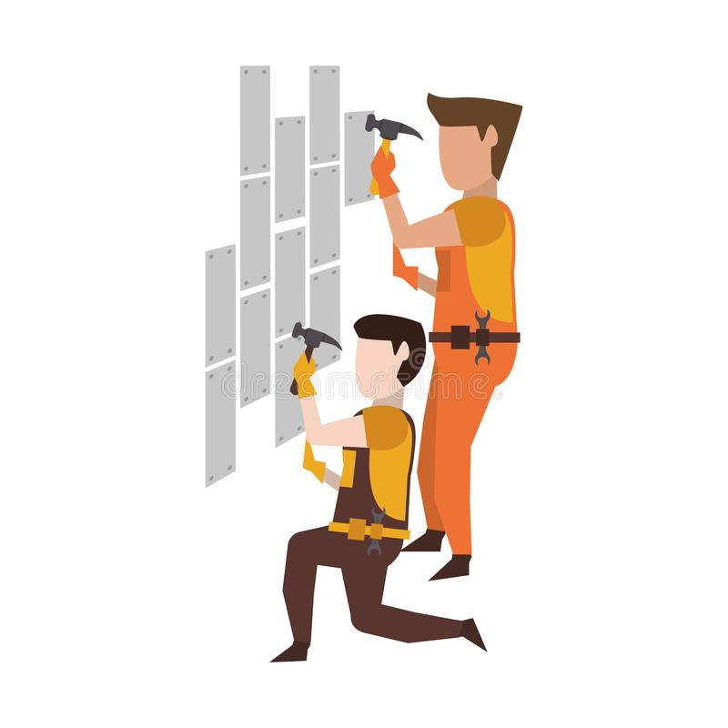 Contruction workers with tools avatar faceless. Contruction workers with hammer fixing wall vector illustration graphic design vector illustration
