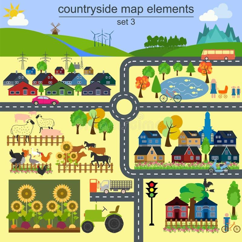 Contryside引起的您自己的infographics, ma地图元素 皇族释放例证