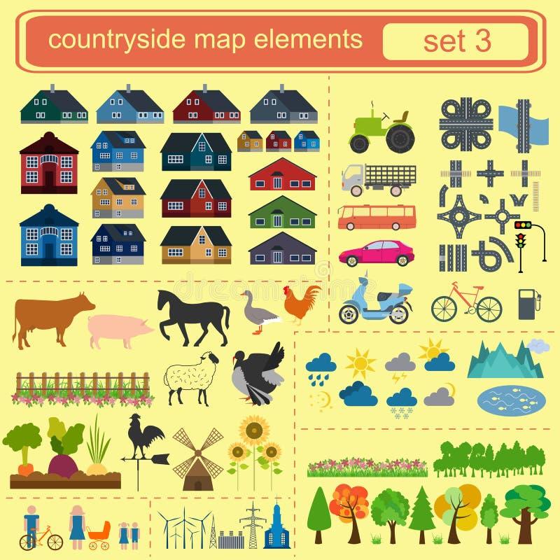 Contryside mapy elementy royalty ilustracja