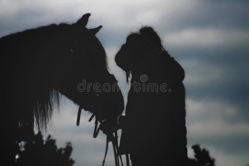 Conture девушки и ее лошади стоковое изображение